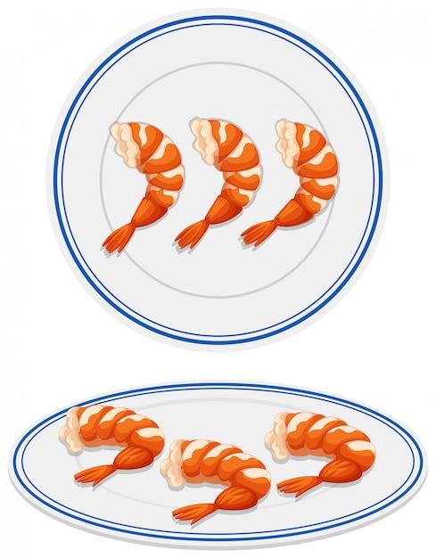 Camarones en plato blanco vector gratuito