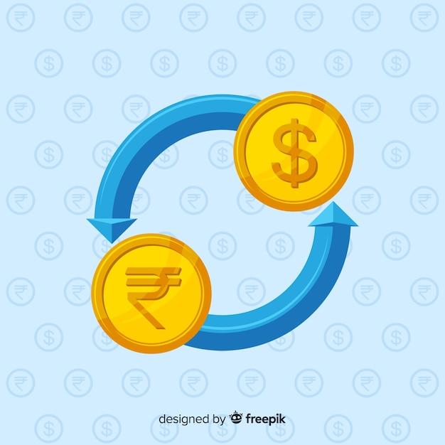 Cambio de moneda rupia india vector gratuito