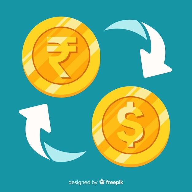 Cambio de moneda de rupias indias Vector Premium