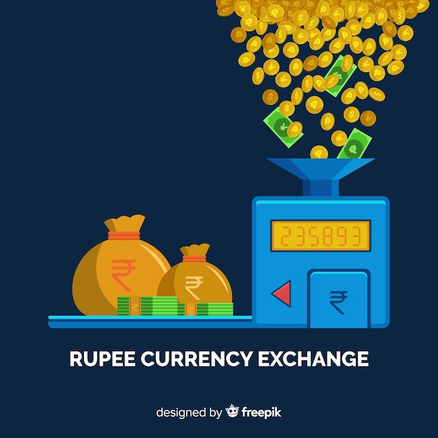Cambio de moneda de rupias indias vector gratuito