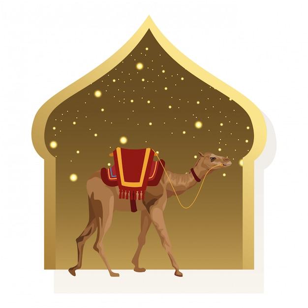 Camello con dibujos animados icono de guarnicionería Vector Premium