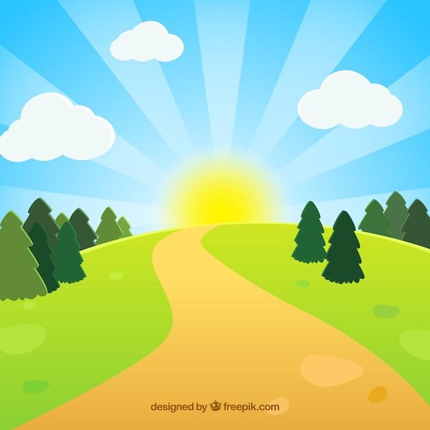 Camino en el prado verde vector gratuito