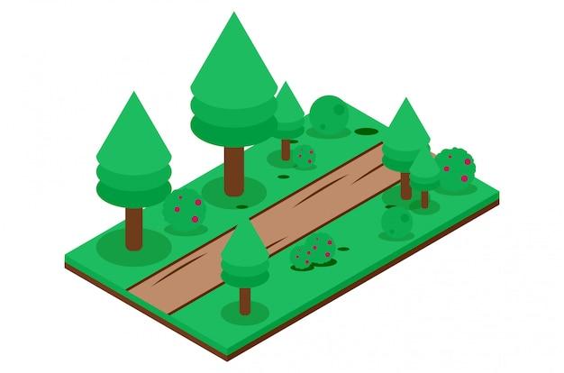Camino de tierra isométrico en el bosque Vector Premium