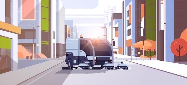 Camión barrendero moderno que lava el vehículo industrial del asfalto Vector Premium