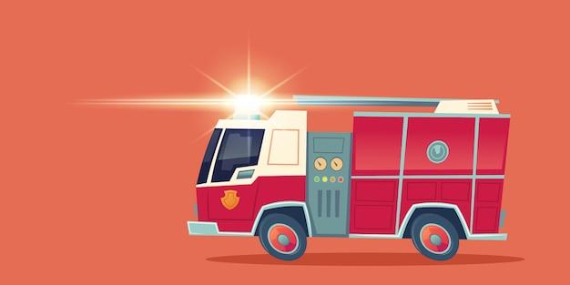 Camión de bomberos rojo, camión de rescate de emergencia vector gratuito
