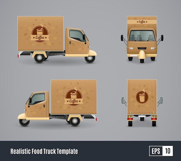 Camión de café realista vector gratuito