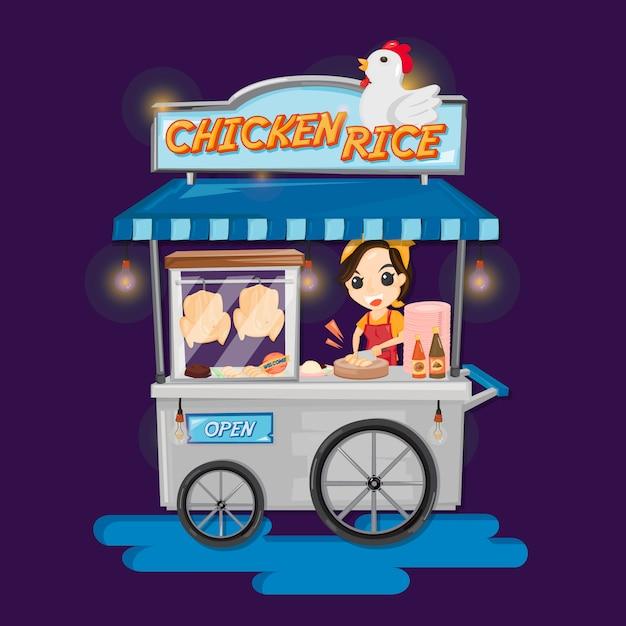 Camión de comida de arroz con pollo tailandés. mujer chuletas de pollo para arroz con pollo en camión de comida. Vector Premium