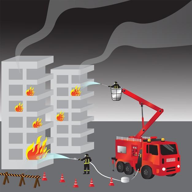 Camión de bomberos rojo y bombero en uniforme   Descargar Vectores ...
