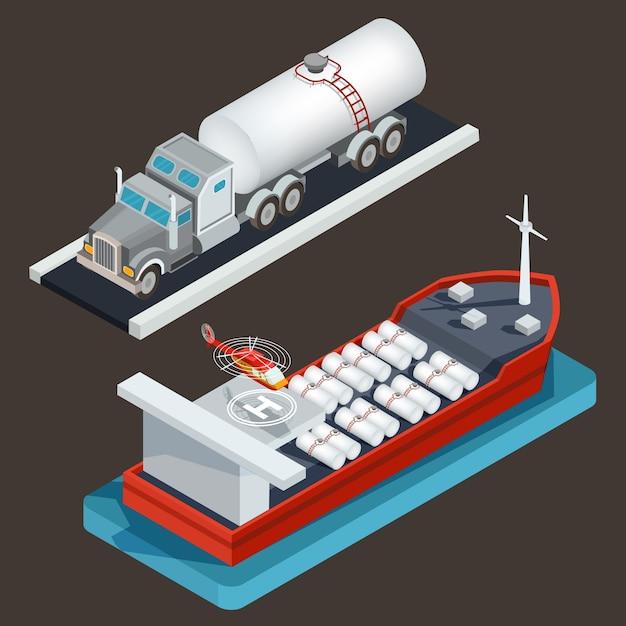 Camión isométrico del vector con el petrolero y el petrolero del mar con la cisterna de la carga y el cojín del helicóptero. vector gratuito