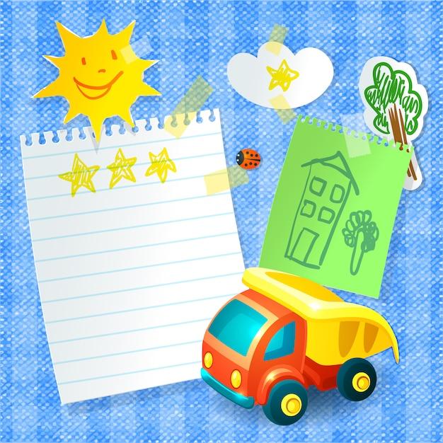 Camión de juguete y papel vector gratuito