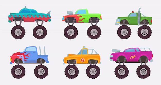Camión monstruo. grandes ruedas de juguete de automóvil de coche de miedo para niños s Vector Premium