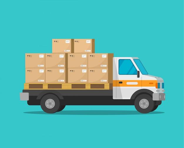 Camión de reparto con cajas de carga de paquetería o furgoneta de carga con paquetes Vector Premium