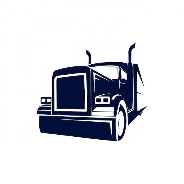 Camión semi monstruo logo Vector Premium