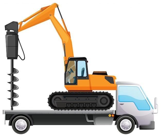 Camión con taladro aislado vector gratuito