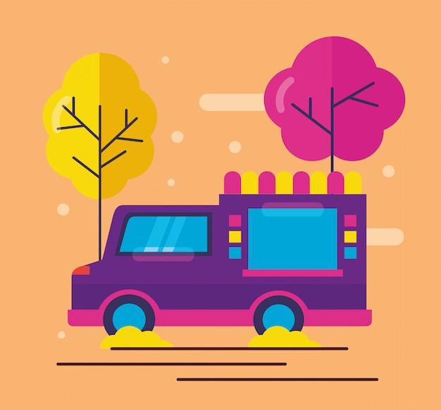 Camiones de comida en estilo plano vector gratuito
