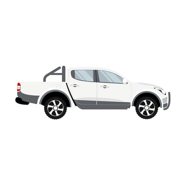 Camioneta pickup vector de diseño de cabina doble color blanco Vector Premium