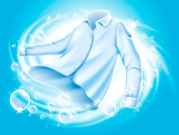 Camisa blanca lavada y hilada en agua, con elementos de pompas de jabón, ilustración de fondo azul Vector Premium