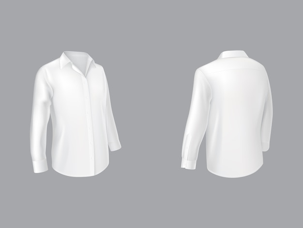 Camisa blanca con mangas largas media vuelta delantera. vector gratuito