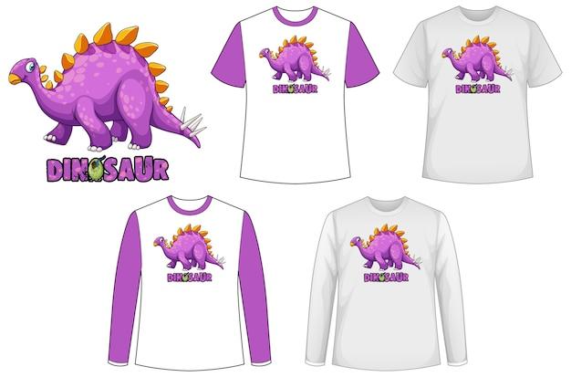 Camisa de plantilla con personaje de dibujos animados de dinosaurio vector gratuito