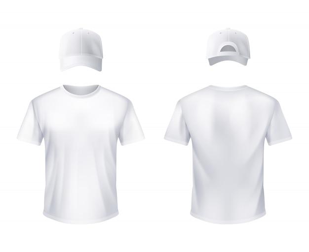 Camiseta blanca y gorra de béisbol hombre realista. vector gratuito