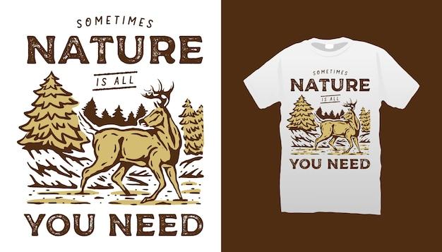 Camiseta de ciervo en la naturaleza Vector Premium