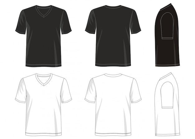 Camiseta con cuello en v plantilla Vector Premium