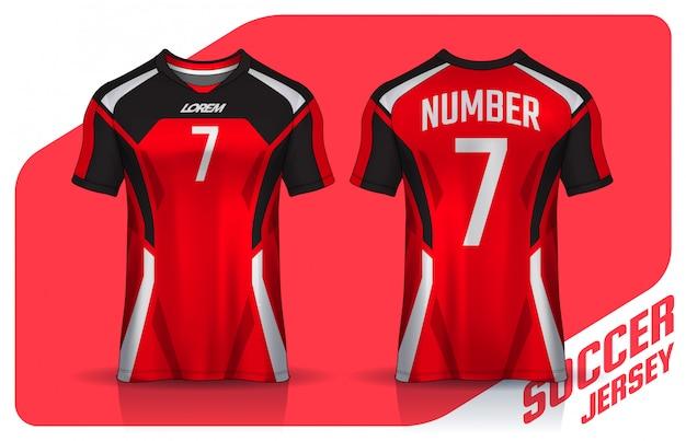 Camiseta deportiva plantilla de diseño, vista frontal y posterior uniforme. Vector Premium