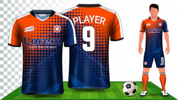 Camiseta de fútbol, camiseta deportiva o equipo de fútbol. presentación del uniforme. Vector Premium