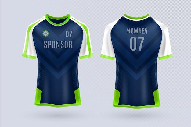 Camiseta de fútbol por delante y por detrás vector gratuito