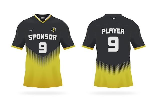 Camiseta de fútbol en negro y amarillo vector gratuito