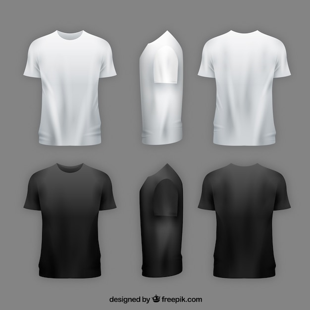 Camiseta de hombre en diferentes perspectivas con estilo realista vector gratuito