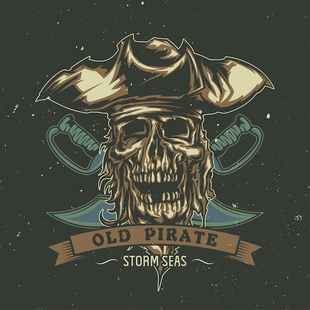 Camiseta o póster con pirata muerto ilustrado con sombrero. vector gratuito