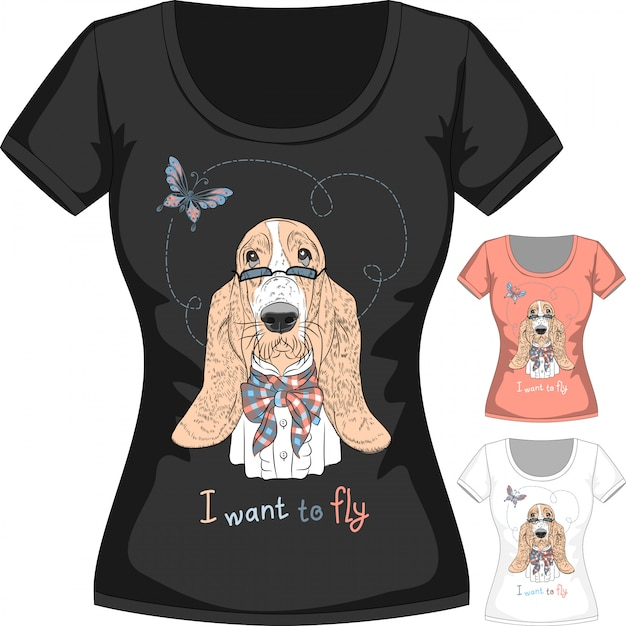 Camiseta con perro basset hound Vector Premium
