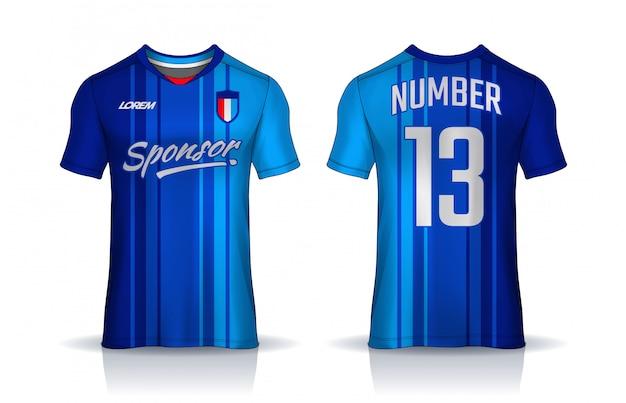 Camiseta plantilla de diseño deportivo, camiseta de fútbol para club de fútbol. vista frontal y posterior uniforme. Vector Premium