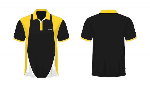 Camiseta polo amarillo y negro t ilustración Vector Premium