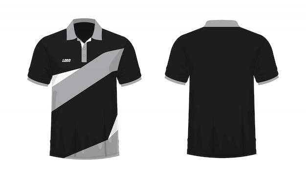 Camiseta polo gris y negro t ilustración Vector Premium