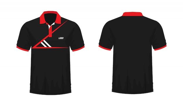 Camiseta polo rojo y negro t ilustración Vector Premium