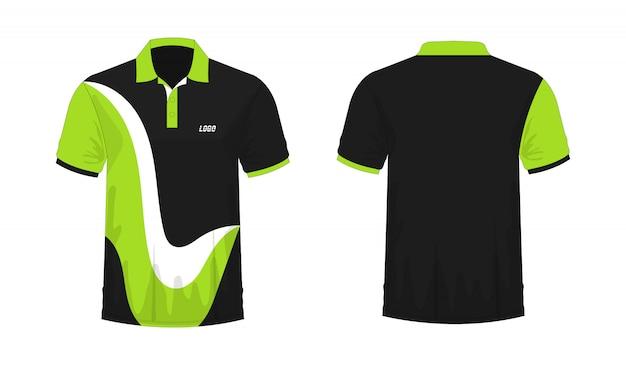 Camiseta polo verde y plantilla negra para diseño. Vector Premium