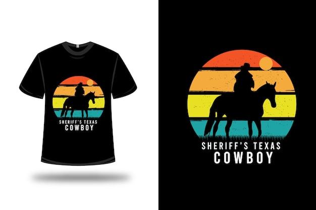 Camiseta sheriff's texas cowboy color naranja amarillo y verde Vector Premium