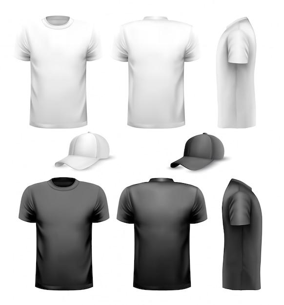 Camiseta y taza de hombre blanco y negro. plantilla de diseño. Vector Premium