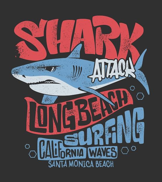 Camiseta de tiburón con estampado de surf, ilustración. Vector Premium