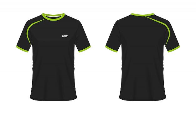 Camiseta verde y negro fútbol o plantilla de fútbol para el club del equipo sobre fondo blanco. deporte jersey Vector Premium