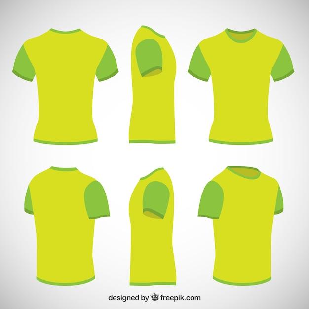 Camisetas en color verde lima vector gratuito