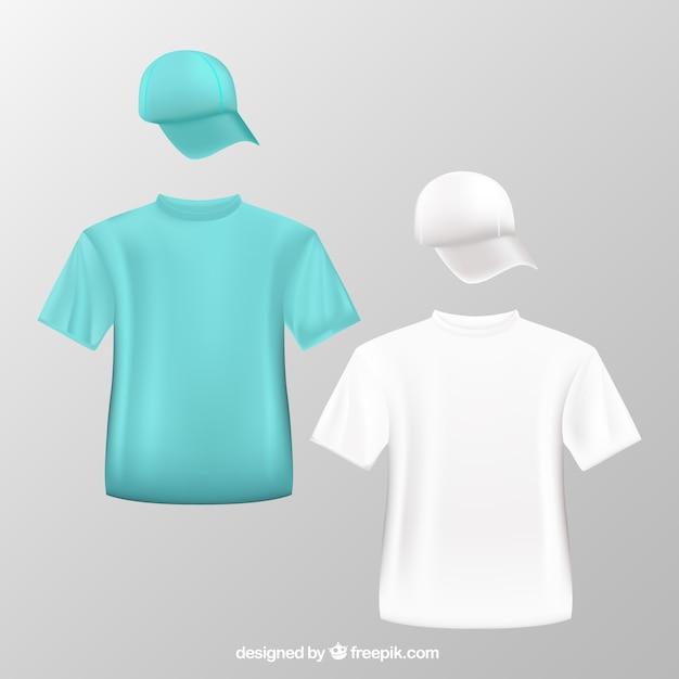 Camisetas y gorras de béisbol vector gratuito
