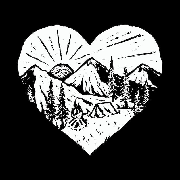 Camp hike nature wild line graphic illustration art diseño de camiseta Vector Premium
