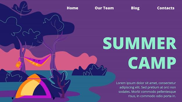 Campamento de verano banner horizontal, tienda de campaña, hamaca y mochila en el paisaje de deep forest Vector Premium
