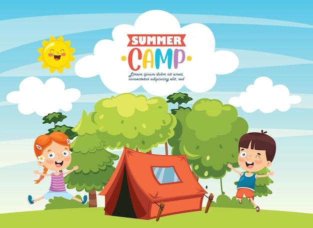 Campamento de verano para niños Vector Premium
