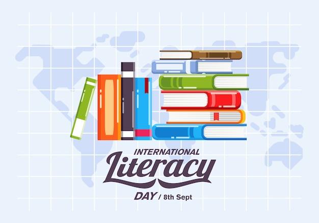 Campaña de carteles del día internacional de la alfabetización con pila de libros y mapa del mundo como ilustración de fondo Vector Premium