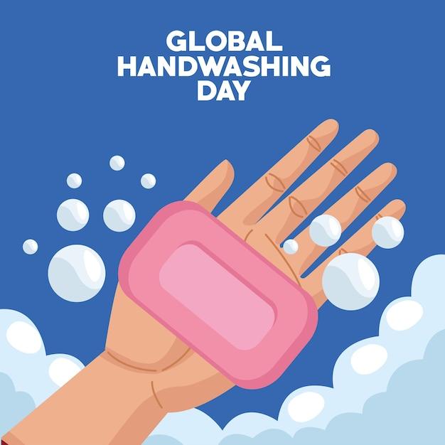 Campaña del día mundial del lavado de manos con barra de jabón y manos Vector Premium