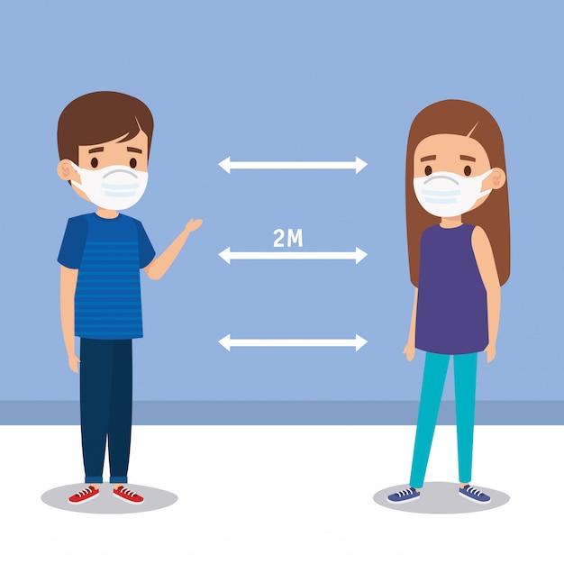 Campaña de distanciamiento social para covid 19 con niños que usan diseño de ilustración de máscara facial vector gratuito